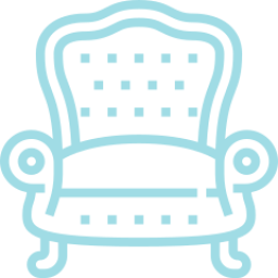 An icon depicting a armchair.